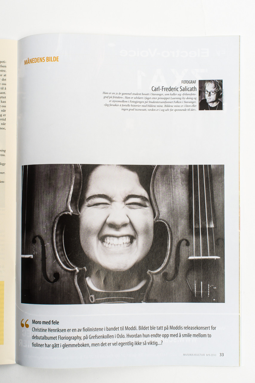 Featured photographer in Musikkmagasinet, with a picture of Moddis violinist Christine.