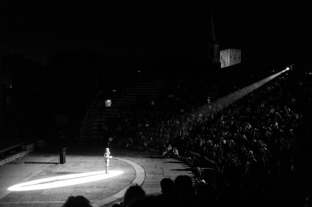A scene from one of the evening shows in the old amphitheater.