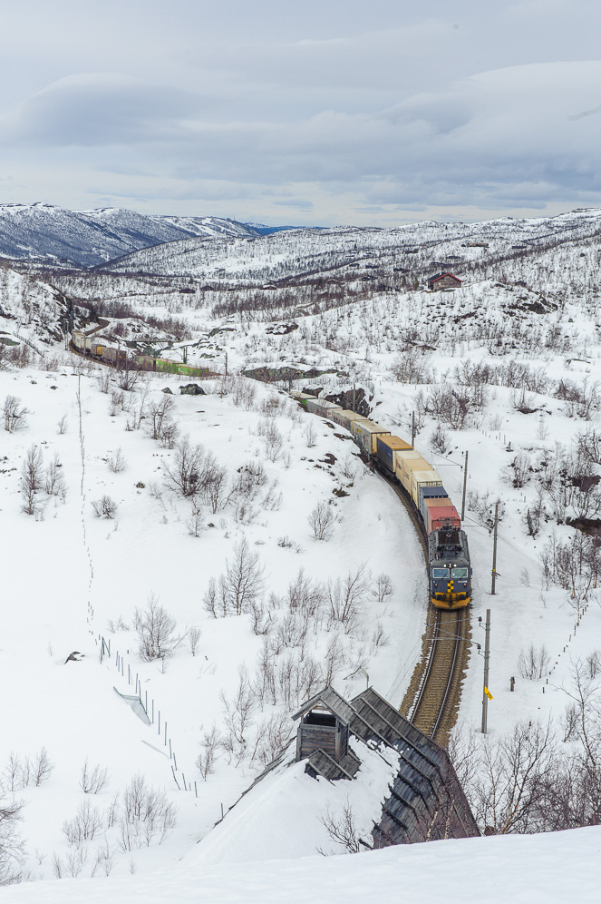 """Train 5504 near Ustaoset, passing the point where the east and western sections of Bergensbanen were connected, our """"golden spike"""". The trains a about to enter a tunnel framed by a snow shelter. The shelters makes it easier to clear snow from the tracks, as snowdrifts otherwise would accumulate in front of the tunnel. This particular shelter is a conserved one to show how they looked in 1911. Note the funnel at the end to ventilate smoke from the steam trains."""